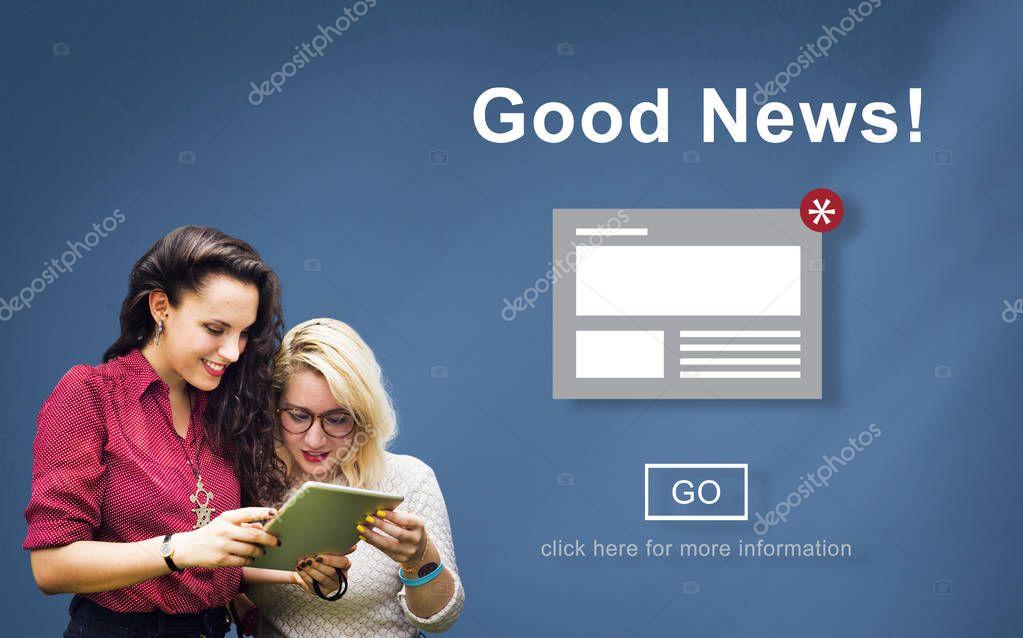 Girls using digital tablet
