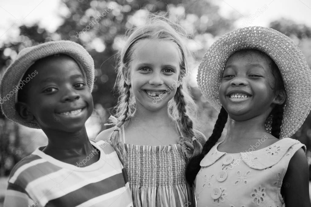 multiethnic children outdoors