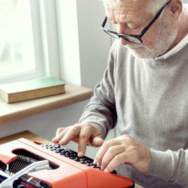 Senior Adult Typing