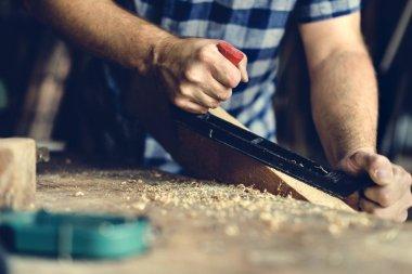 woodeworker Craftsman in workshop