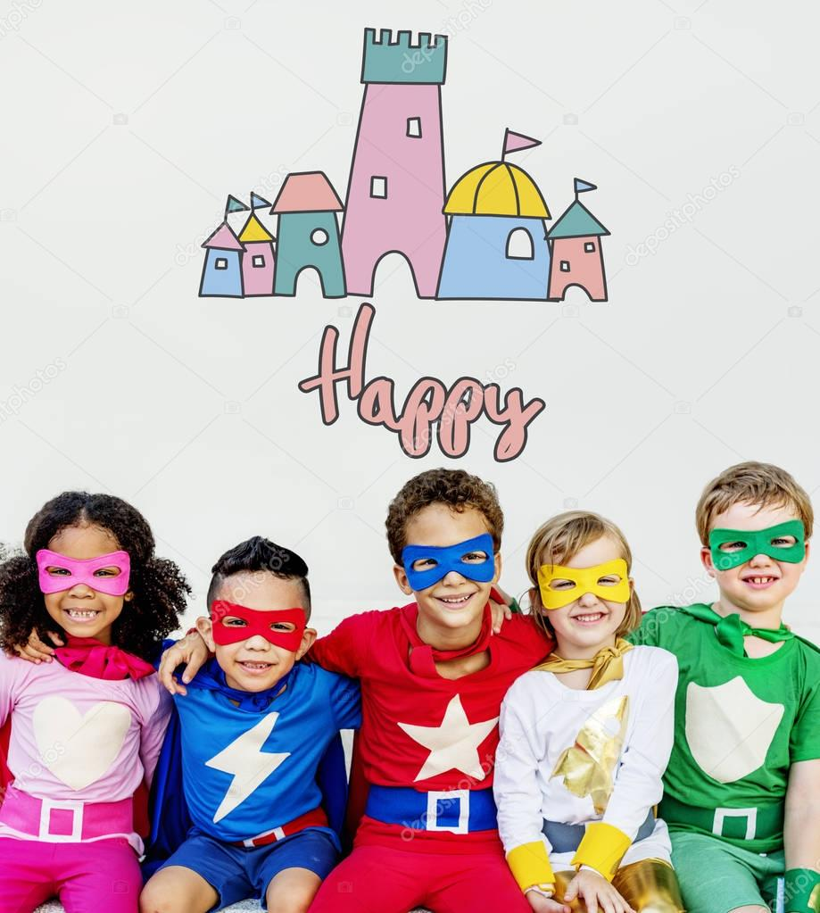 Superhero Kids playing together