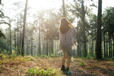 Girl walking in the nature