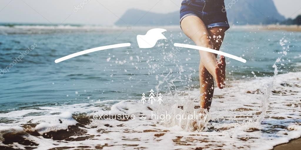 barefoot woman legs in ocean