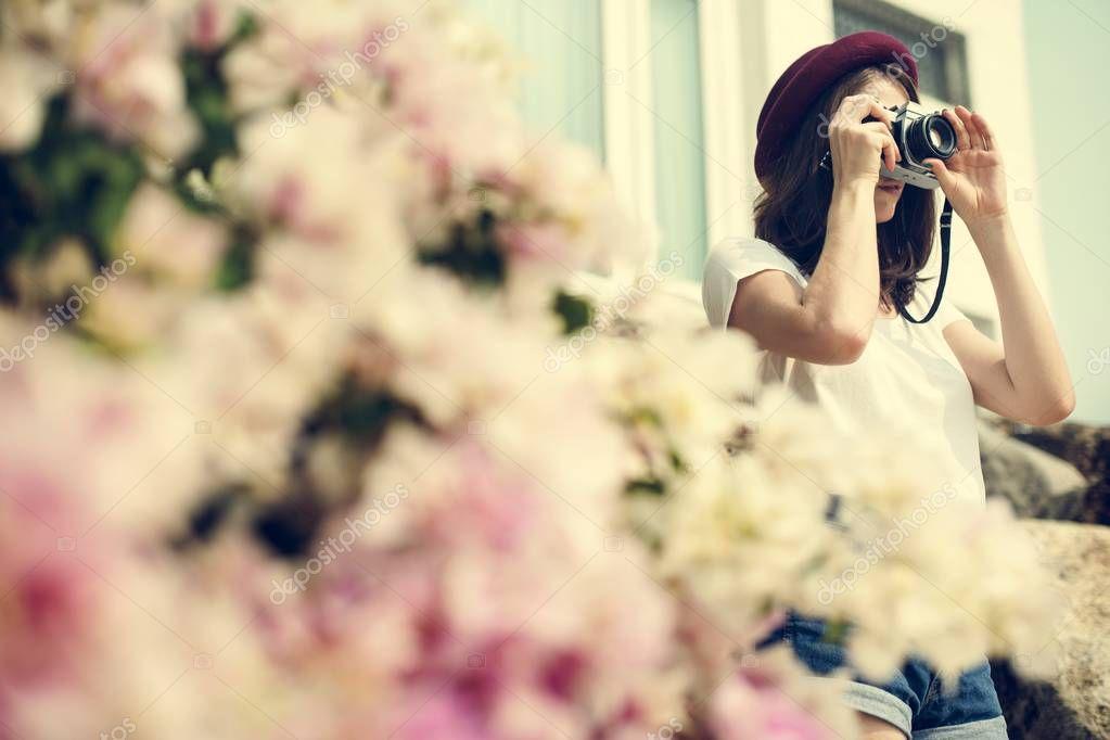 Photographer girl outdoors