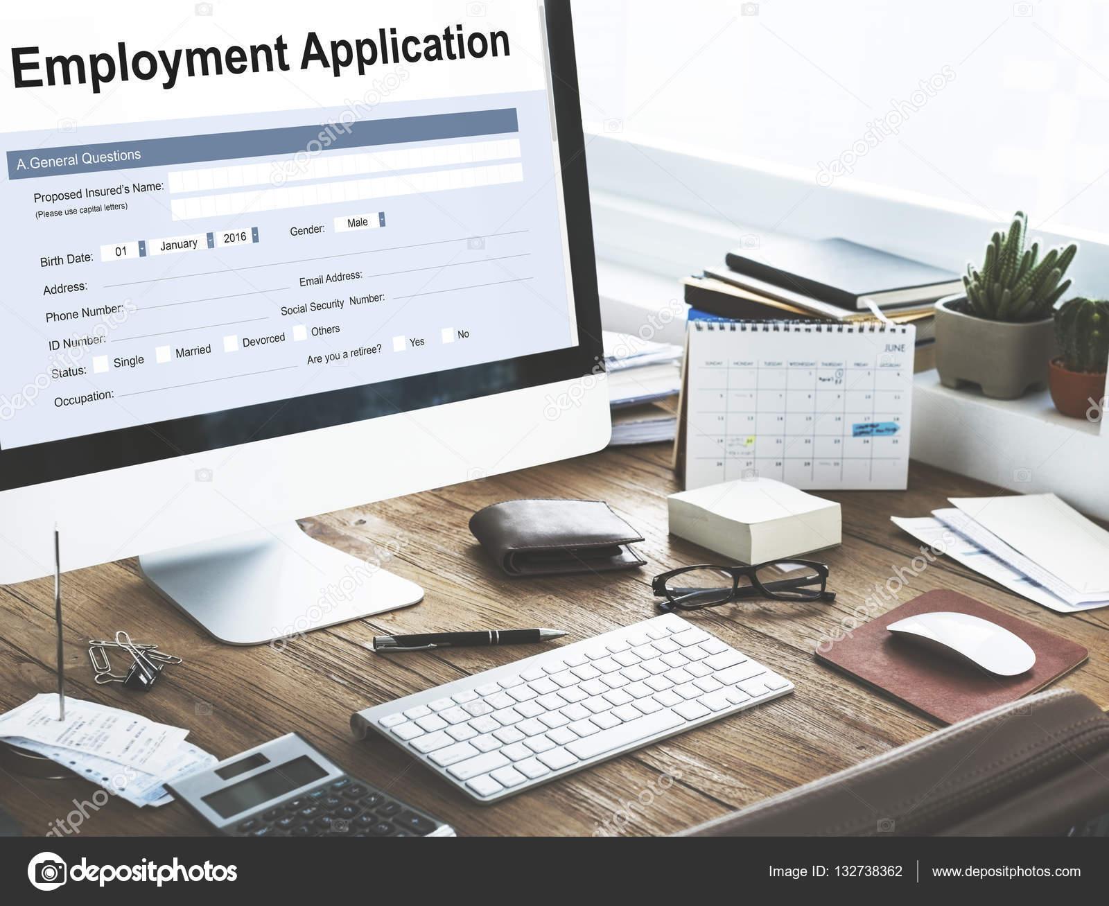 Ufficio Scrivania Jobs : Scrivania da lavoro con forniture per ufficio u foto stock