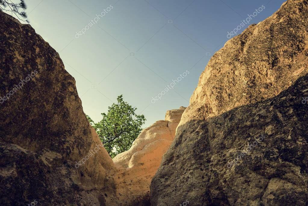 big rocks against blue sky