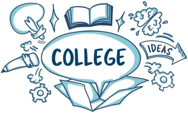 Graphic Text and College Concept