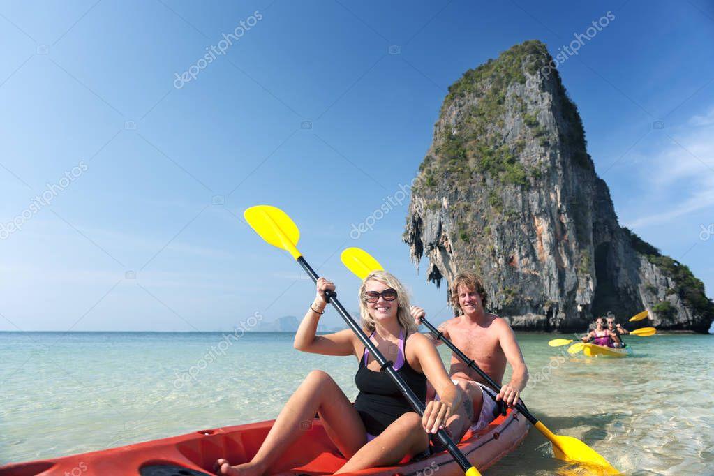 People Kayaking in the sea