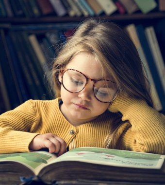 Adorable Girl Reading Storytelling