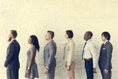 Business People standing in Line
