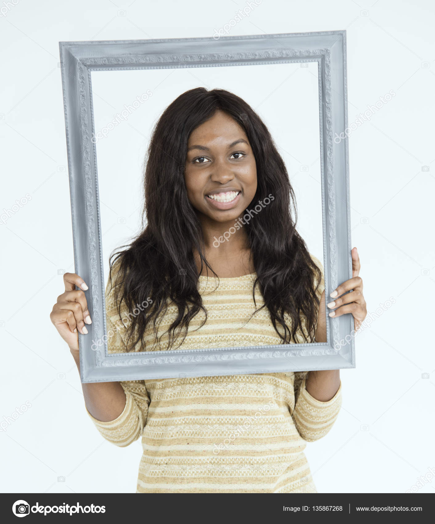 african woman holding frame — Stock Photo © Rawpixel #135867268