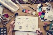 Módní návrhářka pracuje v showroomu