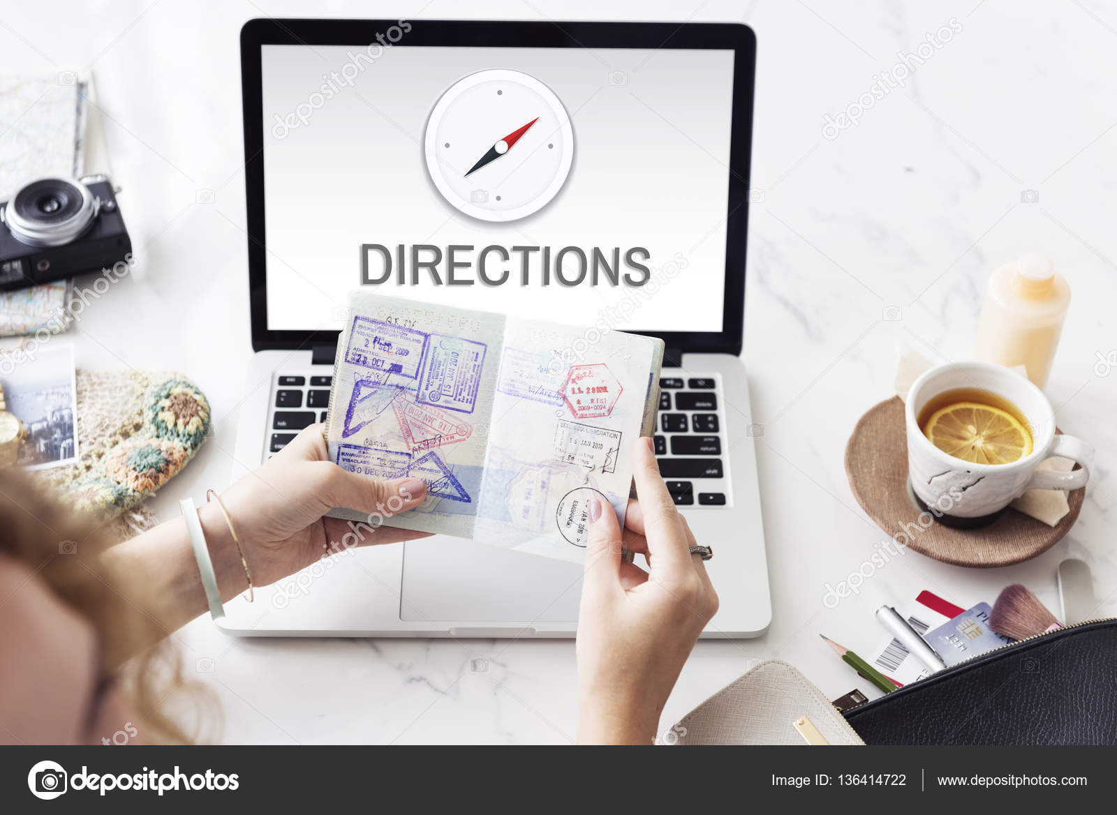 Directions Destination Location GPS Map Concept — Stock