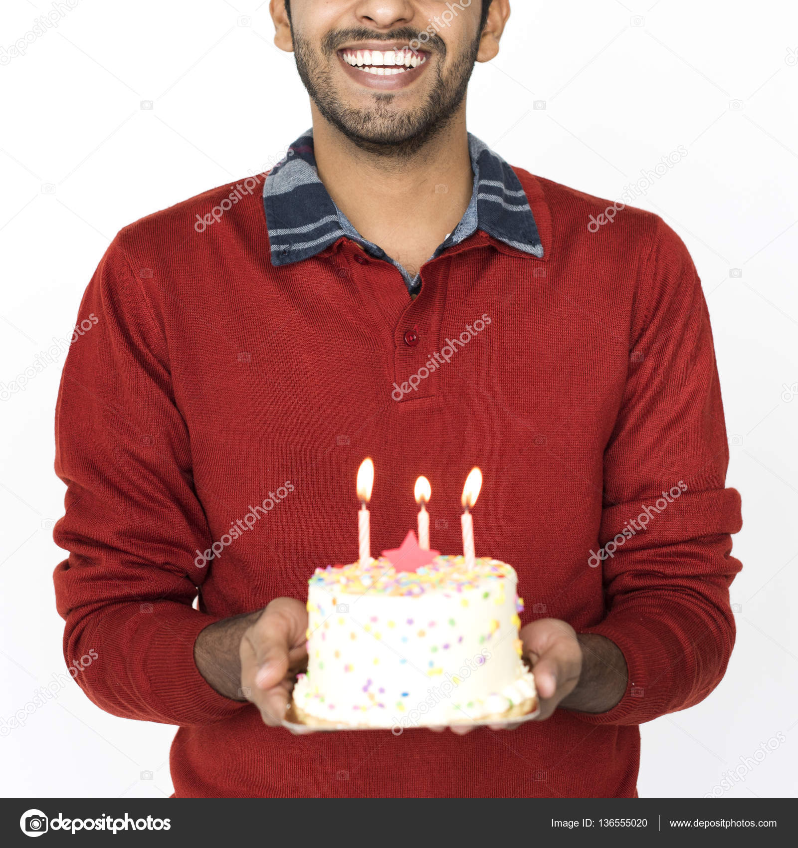 Magnificent Indian Man With Birthday Cake Stock Photo C Rawpixel 136555020 Personalised Birthday Cards Paralily Jamesorg