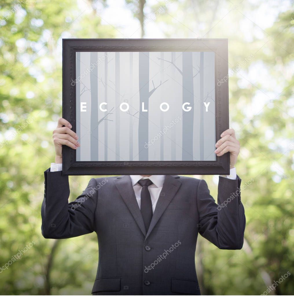 businessman holding advertising picture frame