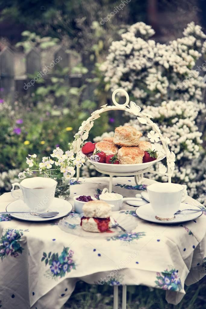 table with tea in Garden