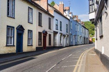beautiful brick townhouses and street