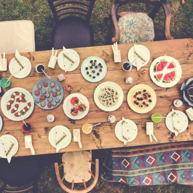 various dishes on table