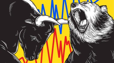 Artwork of bear and bull heads