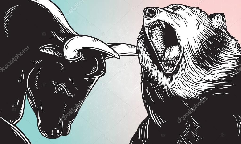Artwork of bear and bull heads