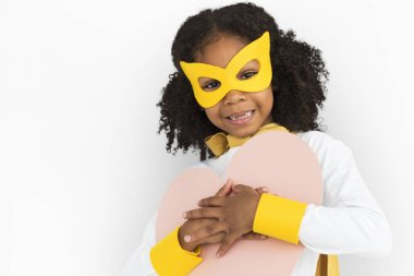 african girl in costume superhero