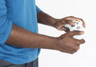 Man Playing video game with controller