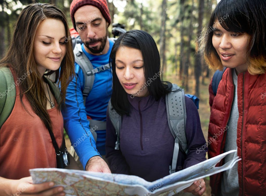 Friends Checking Map
