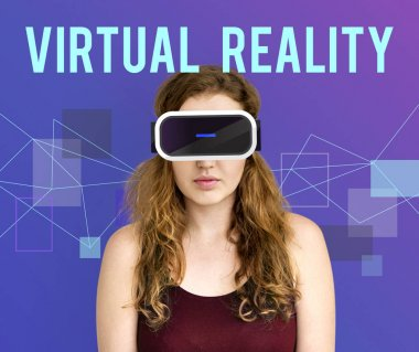 Woman with Virtual reality headset.