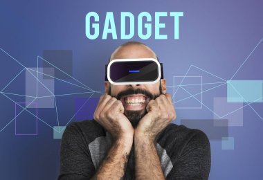smiling man in virtual reality headset