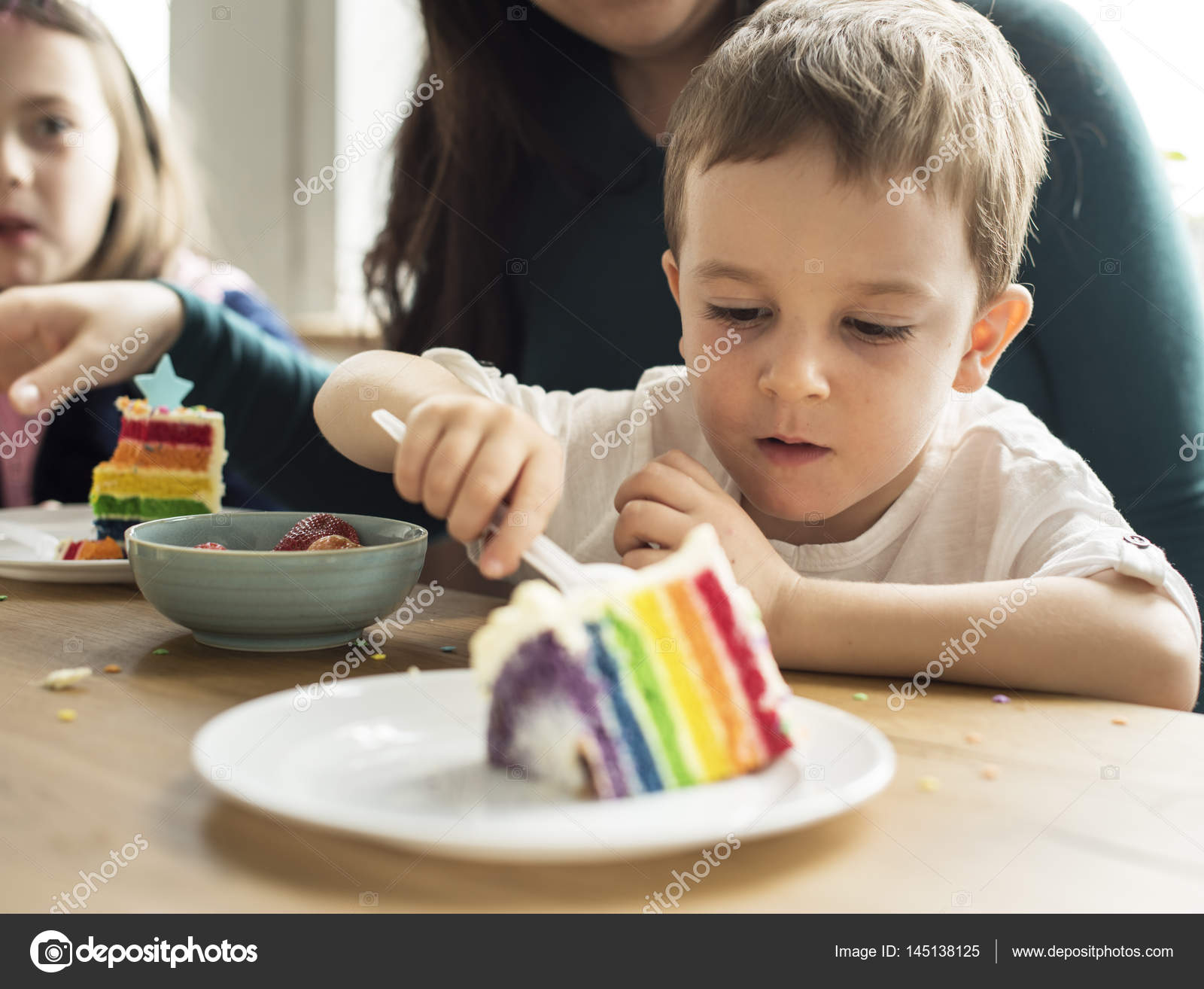 Excellent Little Boy Eating Birthday Cake Stock Photo C Rawpixel 145138125 Funny Birthday Cards Online Inifofree Goldxyz