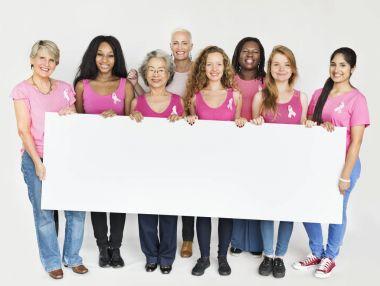 multiethnic women with board