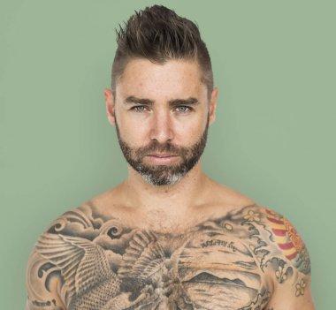 tattooed handsome man