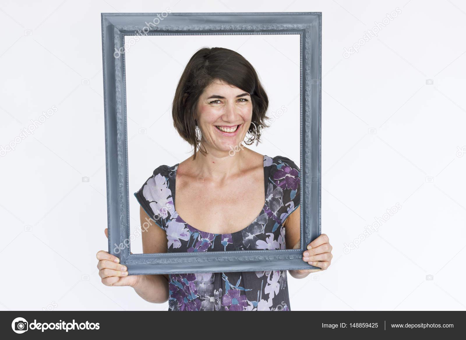 Woman holding frame — Stock Photo © Rawpixel #148859425