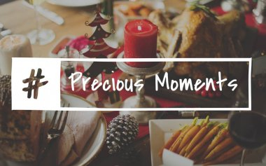 Festive elements and food on table