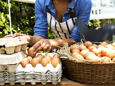 Woman Selling Fresh Chicken Eggs