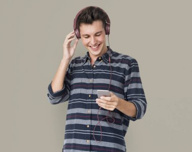 Man with headphones and mobile