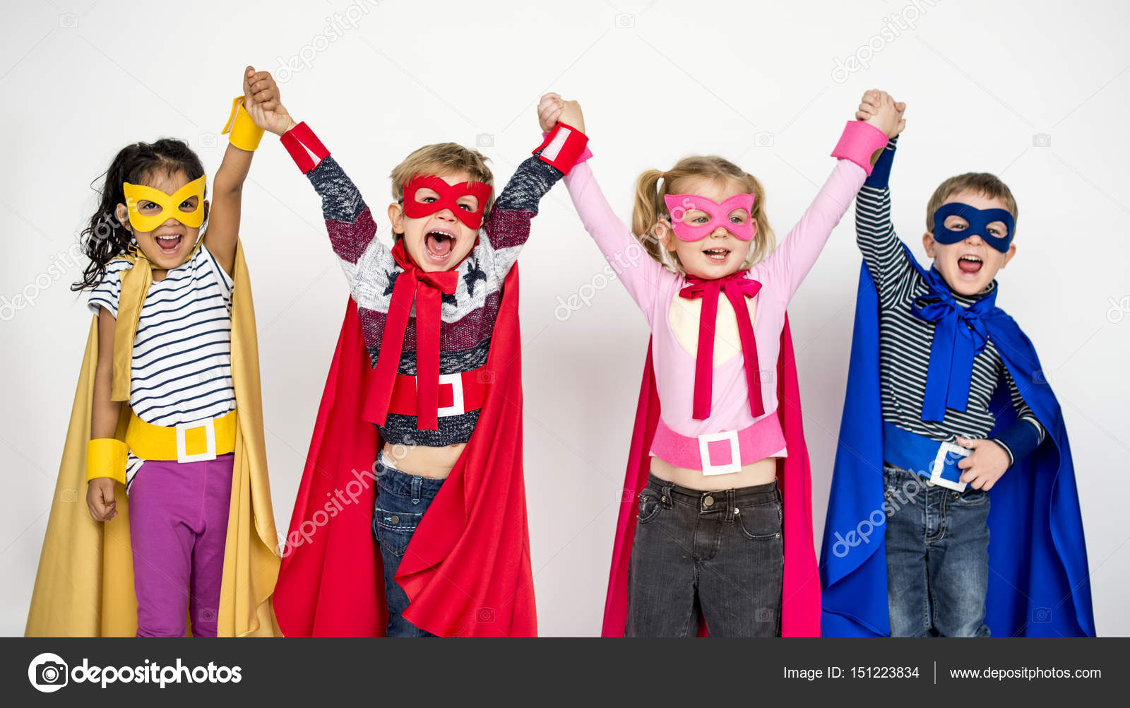Happy children in Superhero costumes u2014 Stock Photo & happy children in Superhero costumes u2014 Stock Photo © Rawpixel #151223834
