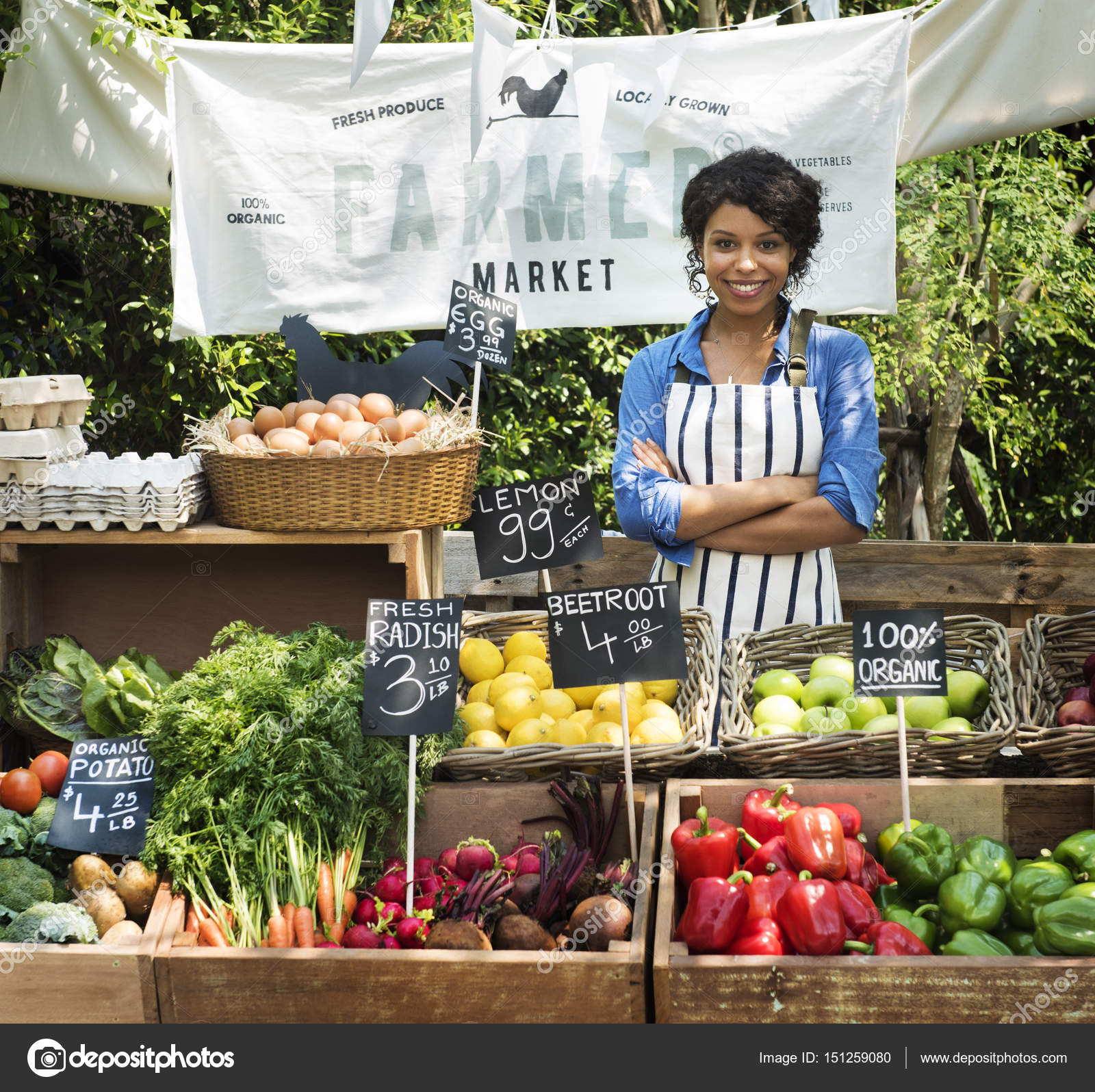 Greengrocer selling organic agricultural products — Stock