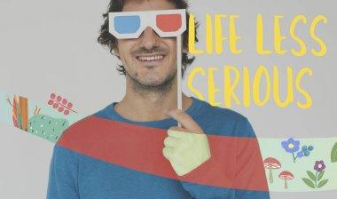 Man holding 3d glasses