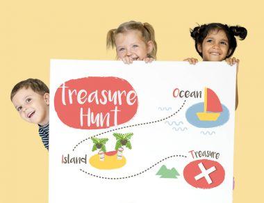 children Holding advertisement placard