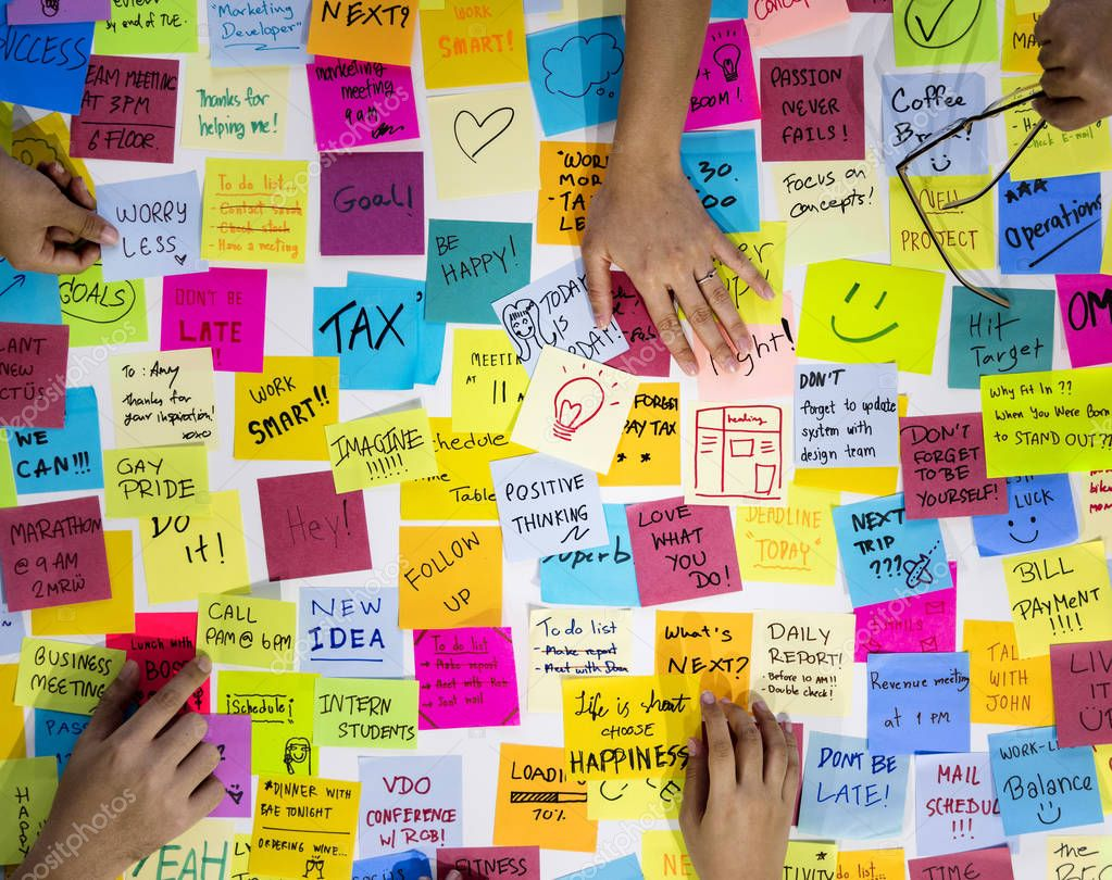 Hands with Sticky Notes
