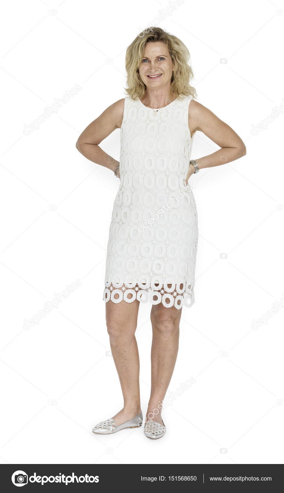 Reife blonde Frau im Kleid — Stockfoto © Rawpixel #151568650