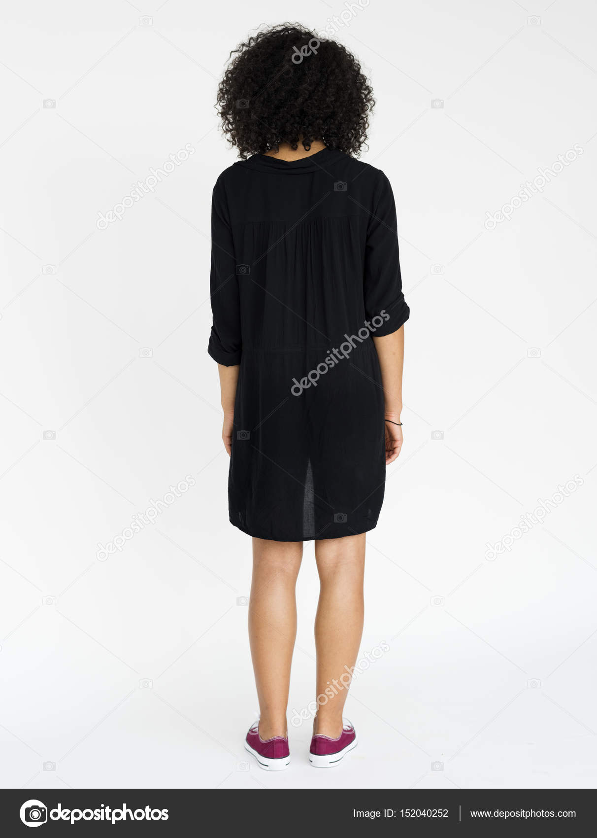 9a1573e987bca Back view of woman with afro hair standing isolated on white — Photo by ...