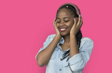 African american woman with headphones
