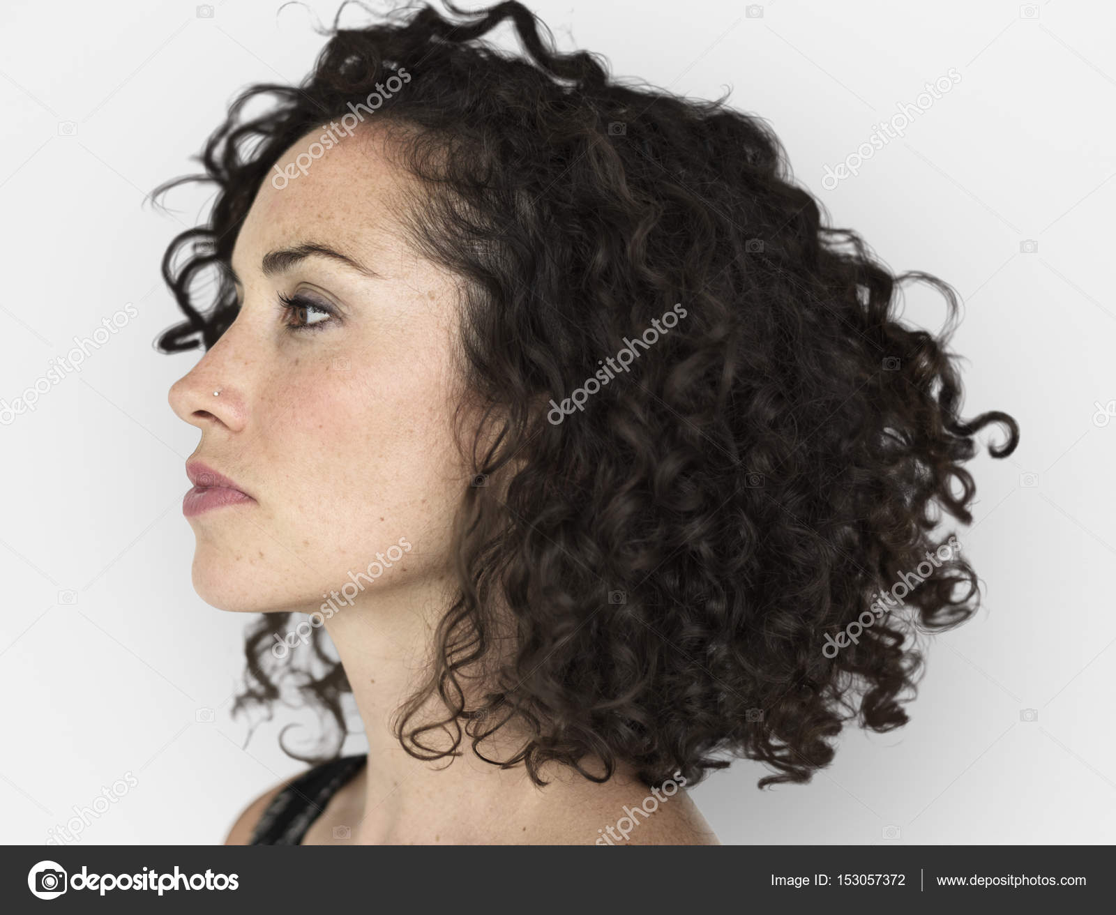 Caucasian Woman With Short Curly Hair Stock Photo C Rawpixel 153057372