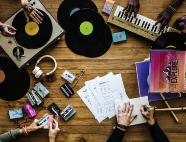 Musicians mixing records