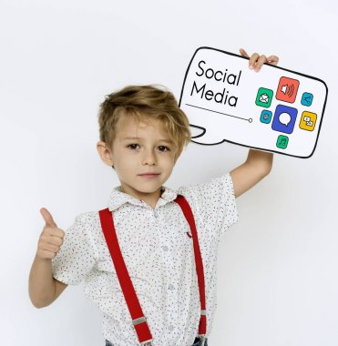 kid holding paper speech bubble