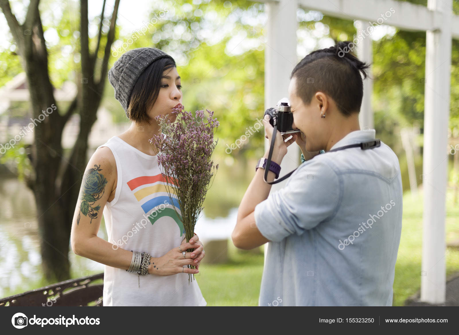 asian lesbian couple in love — stock photo © rawpixel #155323250