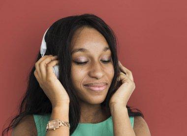 Woman Listening Music in headphones