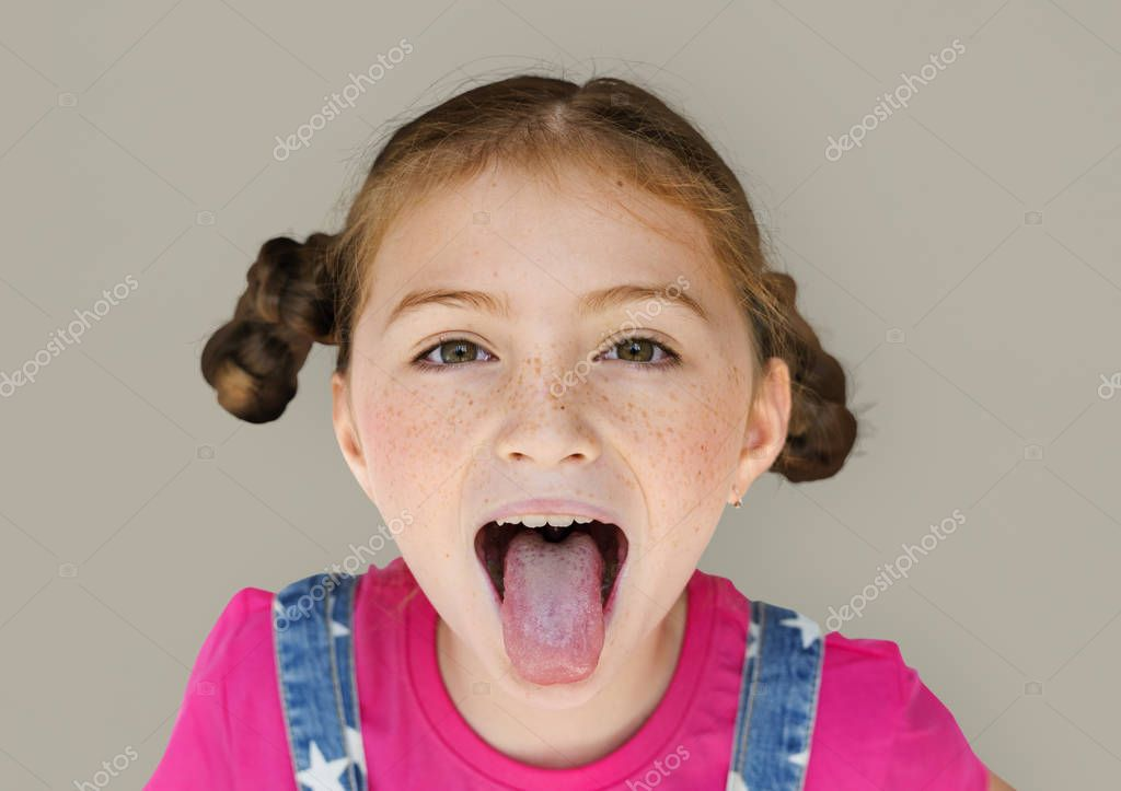 Girl with Sticking Out Tongue — Stock Photo © Rawpixel